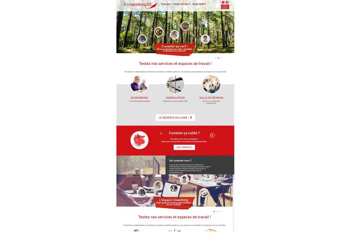 ECOWORKING 33 a confié la création de son site Internet à l'agence web ADELYSNET implantée à Bordeaux, en Aquitaine. Ce site vitrine et E-commerce, a pour vocation de présenter l'activité et les services de ECOWORKING et de la société AAES : location de bureaux à la journée sur Bordeaux, services de secrétariat, agenda en ligne ... Nous avons créé un site internet vitrine et marketé présentant les offres, mais aussi un agenda de réservation et de paiement en ligne. Merci à l'équipe de ecoworking33.fr pour sa confiance en l'agence de communication ADELYSNET.